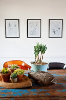 Potted plants (succulents, cacti) and fish ornament on vintage table with peeling blue paint