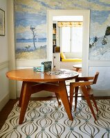 Dining room table with picture puzzle