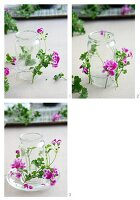 Decorating a candle lantern with scented pelargoniums