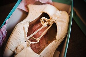 detail of brides white shoes