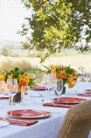 A Table Set Outside for Dining