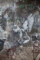 Felsmalerei im Künstlerviertel Santa Teresa (Rio de Janeiro, Brasilien)