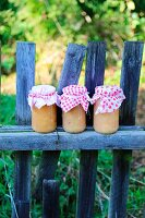 Three jars of apple sauce with nostalgic fabric covers on weathered picket fence in late-summer garden