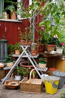 Various plants on old, wooden plant stand behind baskets and buckets on wooden deck adjoining simple wooden cabin