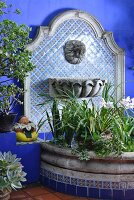 Flowering plants in semicircular raised bed with stone surround against tiled wall panel with water spout and basin in Oriental style