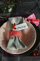 Hand-crafted napkin ring with name tag