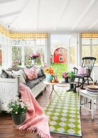Idyllic, Swedish country-house interior with view into garden