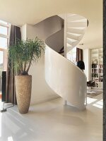 Spiral stairs in hallway with view of seating area in background