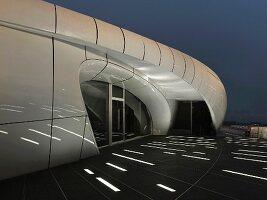 Exterior of Chanel Mobile Art Pavilion at night; Hong Kong; China; Asia