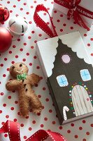 Felt gingerbread man and house made from matchbox