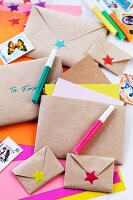 Hand-crafted envelopes made from brown paper