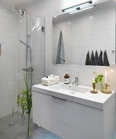Designer washstand and glass wall screening rainfall shower in minimalist bathroom