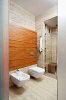 Bidet and toilet mounted on wood-clad projecting wall with glazed shower area in background