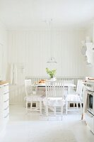 Kitchen-dining room in white, Scandinavian, shabby-chic style