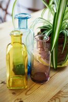 Colourful apothecary bottles next to potted houseplant