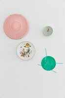 Wall clock and decorative wall plates with various patterns
