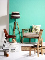 Vintage chairs, elephant figurine used as side table and standard lamp with bamboo frame and knitted lampshade