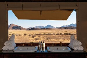 Wolwedans, NamibRand Nature Reserve, Namibia, Africa - view of the landscape from the bathroom