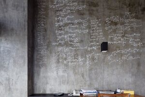 Concrete wall covered in writing above desk
