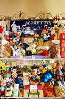 Italian speciality pasta, colourful, vintage comic figurines and enamel advertising signs