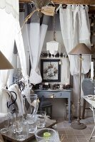 Sales room decorated with home accessories in restored country house with vintage ambiance