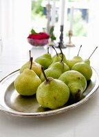 Dish of fresh pears