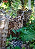 Row of wicker baskets on floor in garden