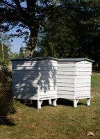 Danish-style wooden beehives in garden