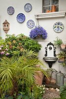 Area in courtyard decorated with wall-mounted plates, antique, ornate wall-mounted sink and potted plants