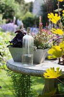 Vintage oil lamp and planted window box on stone garden table in antique Greek style
