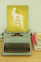 Picture of female silhouette on vintage typewriter