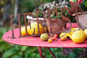 Sign made from wrought iron, rusty letters and yellow ornamental squashes on red garden table
