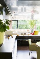 Modern living space with panoramic window in luxury apartment