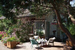 Set coffee table under tree on terrace outside stone hose