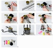 Instructions for making small hanging basket from painted tin cans