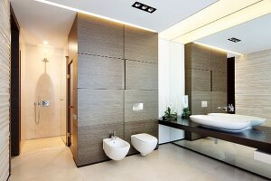 Designer bathroom with continuous washstand counter on mirrored wall, toilet and bidet on wood-clad sauna element and walk-in shower