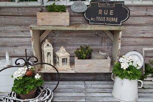 Weisse Geranien im Topf und Vintage Kanne auf verwitterter Holzablage, vor Regal mit dekorativen Laternen