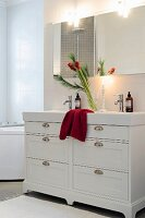 Advent bouquet of amaryllis on washstand in white bathroom
