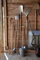 Gardening tools hung up in garden shed next to zinc watering can and wheelbarrow
