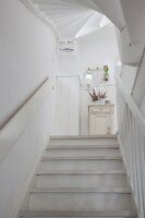 White staircase in Scandinavian country-house style