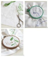 Embroidering white fabric clamped in an embroidery hoop