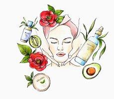 Frau erhält Gesichtsmassage drumherum Zutaten für die Naturkosmetik (Illustration)