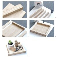 Hand-crafting a wooden tray for arrangements of ornaments and plants