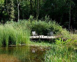 Idyllic seating area on sunny wooden deck next to pond