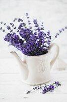 Bouquet of fresh lavender in retro teapot