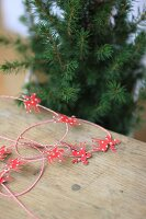 Festive garland made from parcel string and paper moose