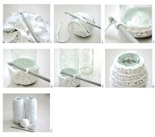 Crocheting vase covers from strips of fabric