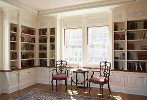 Elegant library with fine stucco ceiling