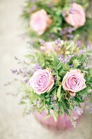Festive flower arrangements with roses