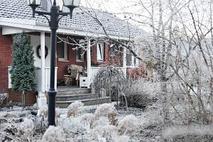 Brick house with veranda in wintry garden covered in hoar frost